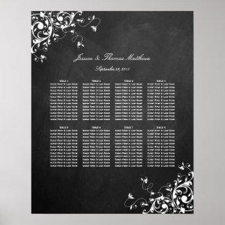 White Swirls On Chalkboard Wedding Seating Chart Poster
