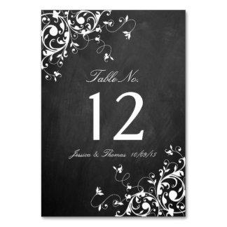 White Swirls On Chalkboard Wedding Table Number Card