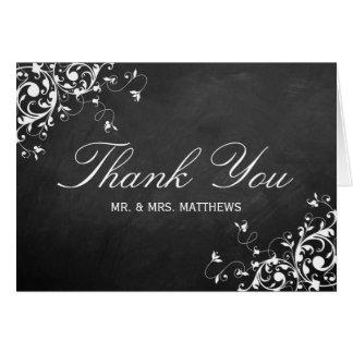 White Swirls On Chalkboard Wedding Thank You Card