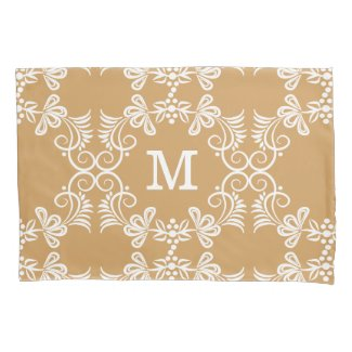 White Swirls On Gold Personalized Monogram Pillowcase
