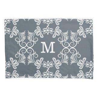 White Swirls On Gray Personalized Monogram Pillowcase