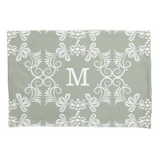 White Swirls On Green Personalized Monogram Pillowcase