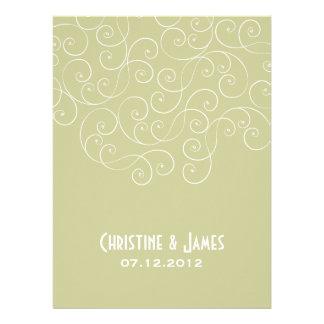 White swirls on khaki, subtle wedding invitation