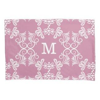 White Swirls On Pink Personalized Monogram Pillowcase