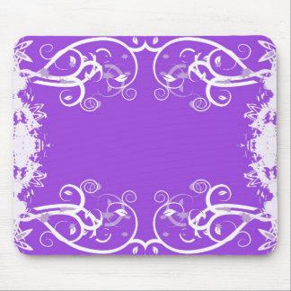 White swirls on purple kaleidoscope design mouse pads