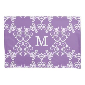 White Swirls On Purple Personalized Monogram Pillowcase