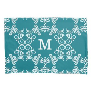 White Swirls On Teal Personalized Monogram Pillowcase