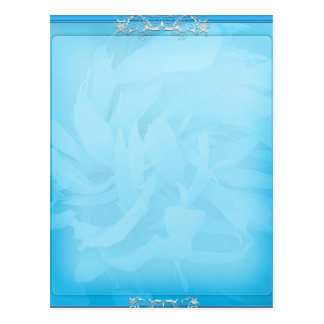 White swirls on unique bluish floral pattern postcard