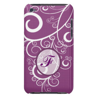 White Swirls Purple Background iPod Touch Case-Mate Case