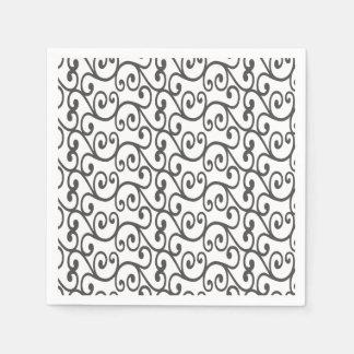 White swirls paper napkins