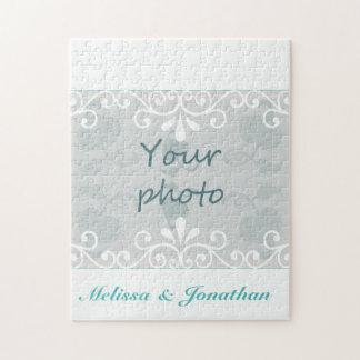 White Swirls, Teal text bride groom Wedding Photo Puzzle