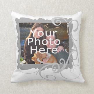 White Swirly Custom Photo Frame Cushion Throw Pillows
