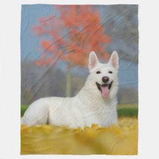 White Swiss Shepherd Dog Photo _ Cute Furry Friend Fleece Blanket