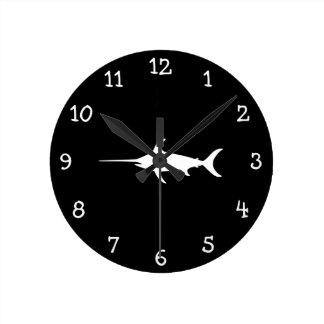 White Swordfish Round Wall Clock