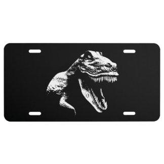 White T Rex License Plate