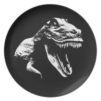 White T Rex Melamine Plate