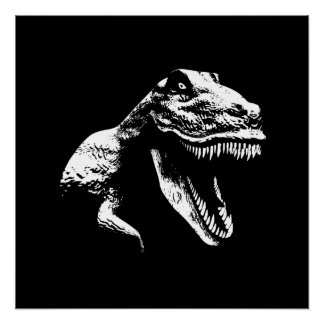 White T Rex Poster