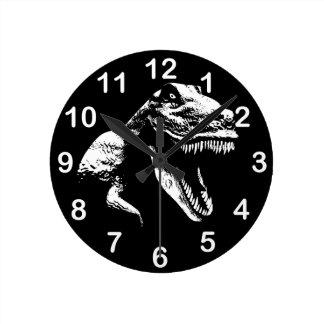 White T Rex Round Clock