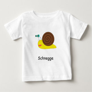 """White T-shirt for babies with snail """"Schnegge """""""