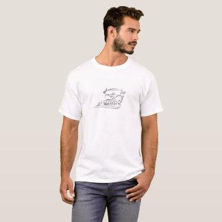 White T-shirt with Black Vintage Typewriter Sketch
