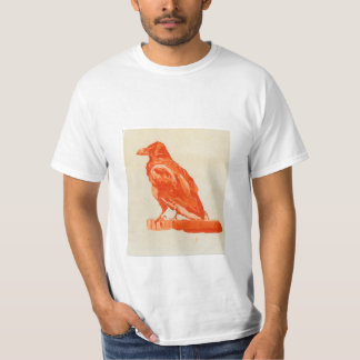 White T-shirt with raven in shades of red