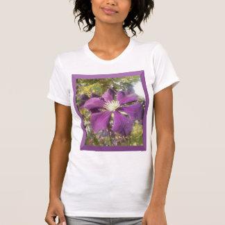 White T-Shirt Women Passionate Purple Flower