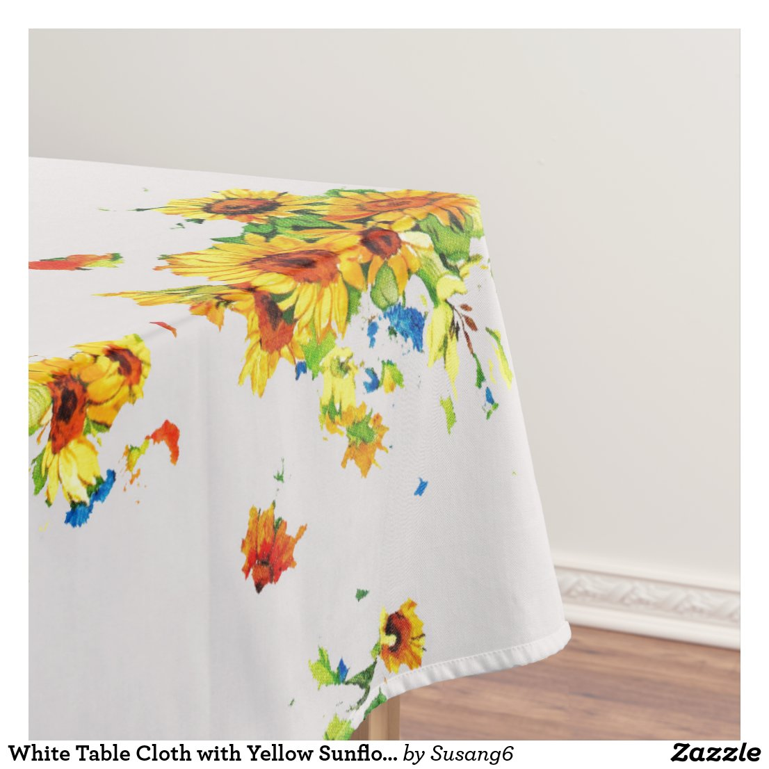 White Table Cloth with Yellow Sunflowers - Floral