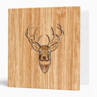 White Tail Buck Deer Head Wood Grain Style Binder