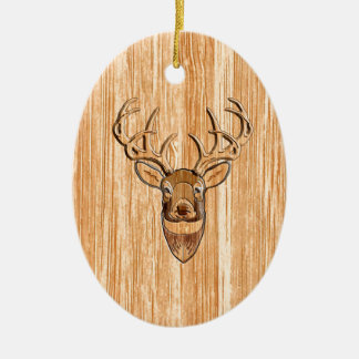 White Tail Buck Deer Head Wood Grain Style Ceramic Ornament
