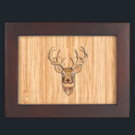 """White Tail Buck Deer Head Wood Grain Style Keepsake Box<br><div class=""""desc"""">A modern Deer Head bold Energy Spirit inlay applique style. A white tail antlers buck profile on a blond wood grain look background that is sure to make an impression on or off the trails. We also carry a wide selection of custom embroidered caps to complete your quest for that...</div>"""