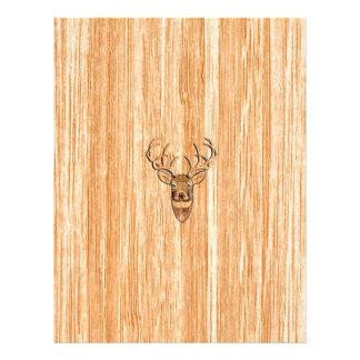 White Tail Buck Deer Head Wood Grain Style Letterhead