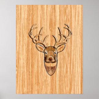 White Tail Buck Deer Head Wood Grain Style Poster