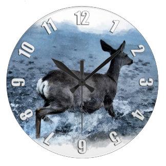 White Tail Deer and Lake Large Clock