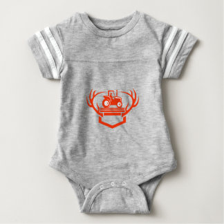 White Tail Deer Antler Tractor Retro Baby Bodysuit