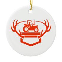 White Tail Deer Antler Tractor Retro Ceramic Ornament
