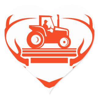 White Tail Deer Antler Tractor Retro Heart Sticker