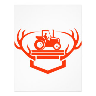White Tail Deer Antler Tractor Retro Letterhead