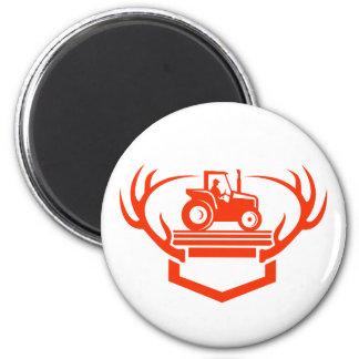 White Tail Deer Antler Tractor Retro Magnet