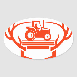 White Tail Deer Antler Tractor Retro Oval Sticker