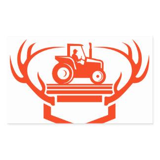White Tail Deer Antler Tractor Retro Rectangular Sticker