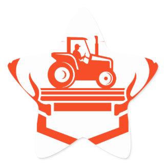 White Tail Deer Antler Tractor Retro Star Sticker
