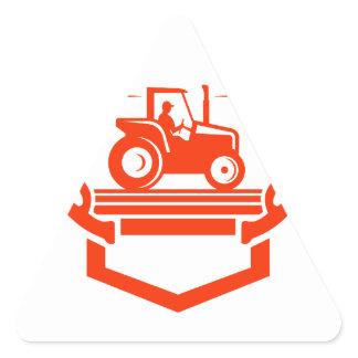 White Tail Deer Antler Tractor Retro Triangle Sticker