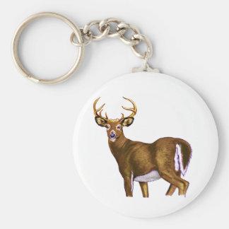 White Tail Deer Buck Basic Round Button Keychain