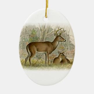 White Tail Deer Buck - Doe Ceramic Ornament