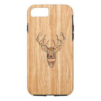 White Tail Deer Buck Wood Grain Style Design iPhone 8/7 Case