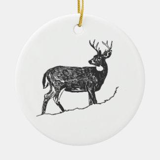 White Tail Deer Ceramic Ornament