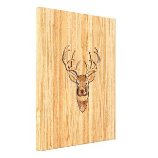 White Tail Deer Head Blond Wood Grain Style Canvas Print