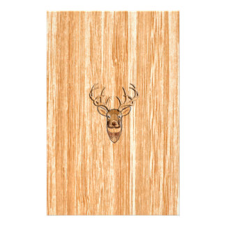 White Tail Deer Head Blond Wood Grain Style Stationery