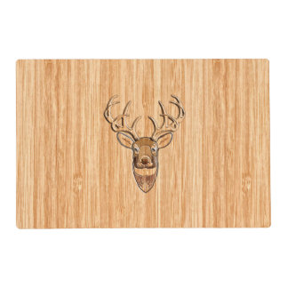 White Tail Deer Head Buck Wood Grain Style Decor Placemat