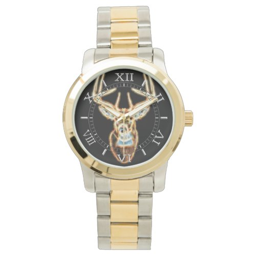 White tail Deer Head Energy Spirit Dial Wrist Watch